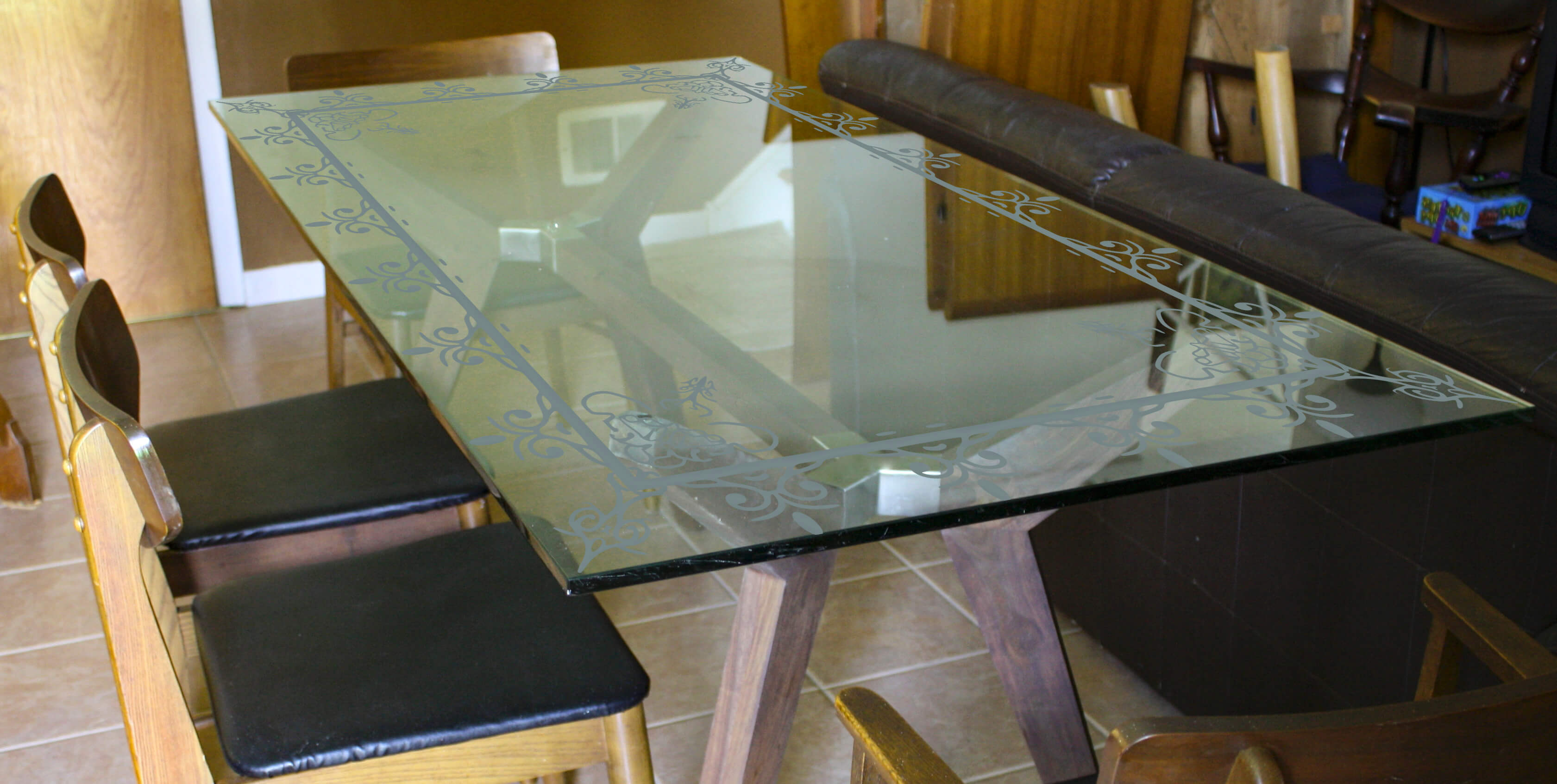 Etching Designer Glass Dining Table TOP-FGDTED12