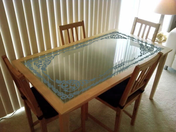 Etching Designer Glass Dining Table Top Fgdted13 Flair Glass