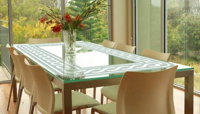 Etching Designer Glass Dining Table TOP-FGDTED20